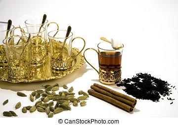 árabe, chá, óculos, com, açúcar, e, spices.