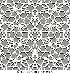 árabe, color, simétrico, patrón, paleta, geométrico, ornamento, seamless, musulmán, gris blanco, telón de fondo., motiff., embaldosado