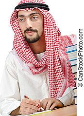 árabe, concepto, educación, joven