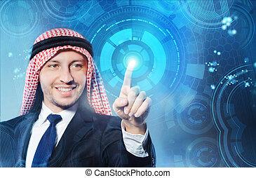 árabe, concepto,  virtual, botones, planchado, futurista, hombre