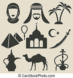 árabe, conjunto, iconos