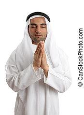árabe, deus, orando, homem