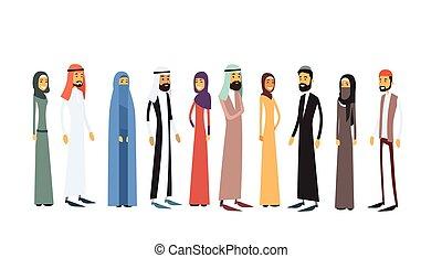 árabe, diferente, grupo, gente, tradicional, ropa