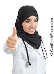 árabe, doctor, mujer, convenir, con, pulgar up