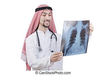 árabe, doutor, examinando, raio x, impressão