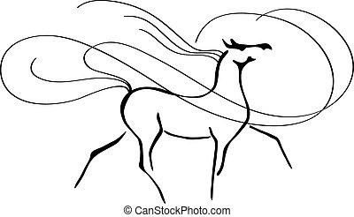 árabe, elegante, caballo, trotar