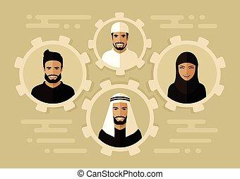 árabe, empresarios, grupo, equipo, saudí, sonrisa