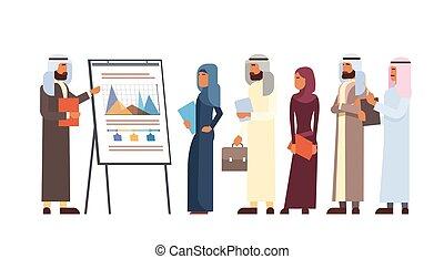 árabe, empresarios, grupo, presentación, rotafolio,...