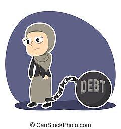 árabe, executiva, amarrada, com, dívida, ferro, bola
