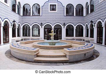 árabe, fuente, patio
