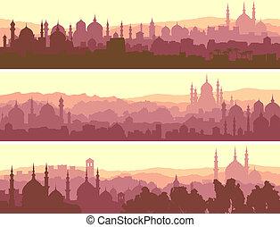 árabe, grande, horizontal, city., banderas