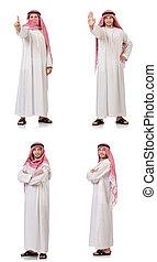 árabe, hombre, aislado, blanco, plano de fondo
