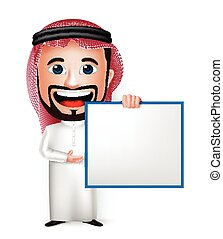 árabe, hombre, carácter, caricatura, saudí