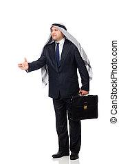 árabe, hombre de negocios, aislado, blanco