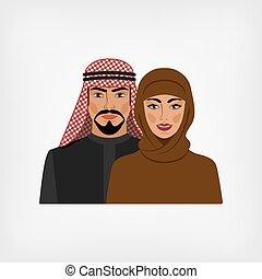 árabe, hombre y mujer, en, tradicional, ropa