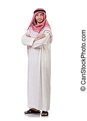 árabe, homem, isolado, branco