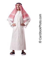 árabe, homem, isolado, ligado, a, branca