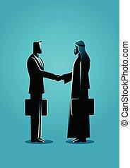 árabe, homem negócios, abanar, mão, com, ocidental, homem negócios