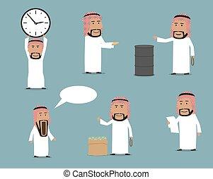 árabe, homem negócios, caricatura, caráteres