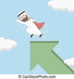 árabe, homem negócios, fle, premissas, super