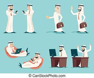 árabe, jogo, caráteres, trabalhando, sucedido, vindima, nacional, muçulmano, ilustração, tradicional, vetorial, desenho, retro, fundo, homem negócios, elegante, roupas, caricatura, ícone