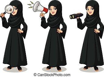 árabe, jogo, ridjam.eps, executiva, olhar, pretas, poses, vestido