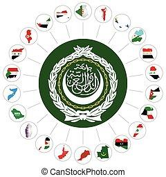 árabe, liga, membro, estados