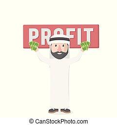 árabe, lucro, prendendo dinheiro