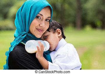 árabe, madre y bebé, niño