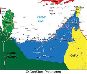 árabe, mapa, unidas, emirates