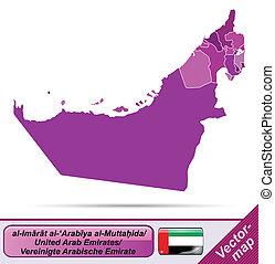 árabe, mapa, unido, emiratos