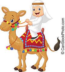 árabe, menino, montando, camelo