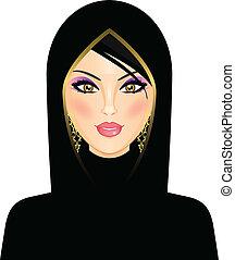 árabe, mujer, ilustración, vector