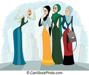 árabe, mujeres que hablan, aire libre