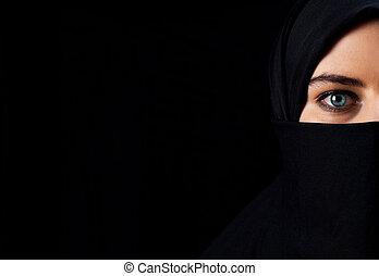 árabe, mulher, com, pretas, véu