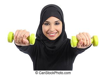 árabe, mulher, conceito, pesos, condicão física