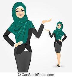 árabe, mulher, mostrando, negócio, algo