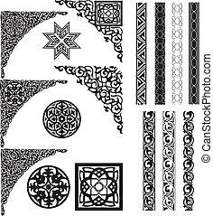 árabe, ornamento, cantos, e, divisor