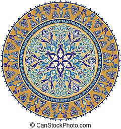 árabe, ornamento, clássico