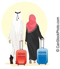 árabe, pareja, maleta