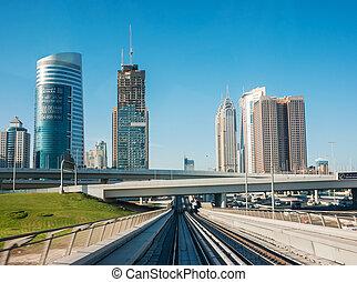 árabe, pistas, unido, emiratos, metro
