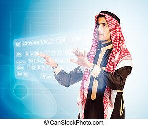 árabe, planchado, keybord, virtual, hombre
