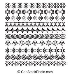 árabe, quadro, ornamento, padrão, escova, vetorial, jogo