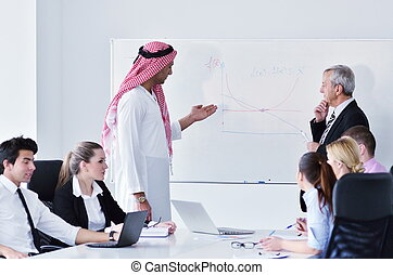 árabe, reunião, homem negócio