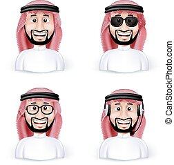 árabe, saudí, caracteres, hombre