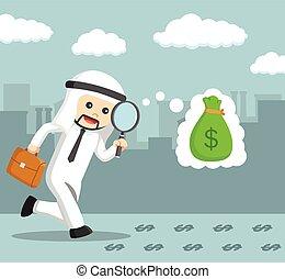 árabe, seguir, homens negócios, dinheiro