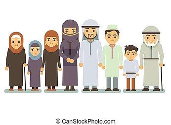 árabe, sorrir feliz, família, vetorial, characters., islamic, pais, saudita, homem, mulher, crianças, adolescente