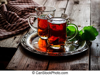 árabe, té, estilo, menta