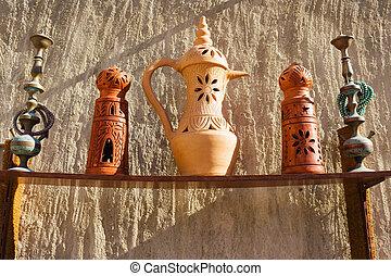 árabe, viejo, jarras