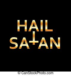 árajánlatot tesz, satan-, rejtett, antichrist, fekete, jelkép, arany-, jégeső
